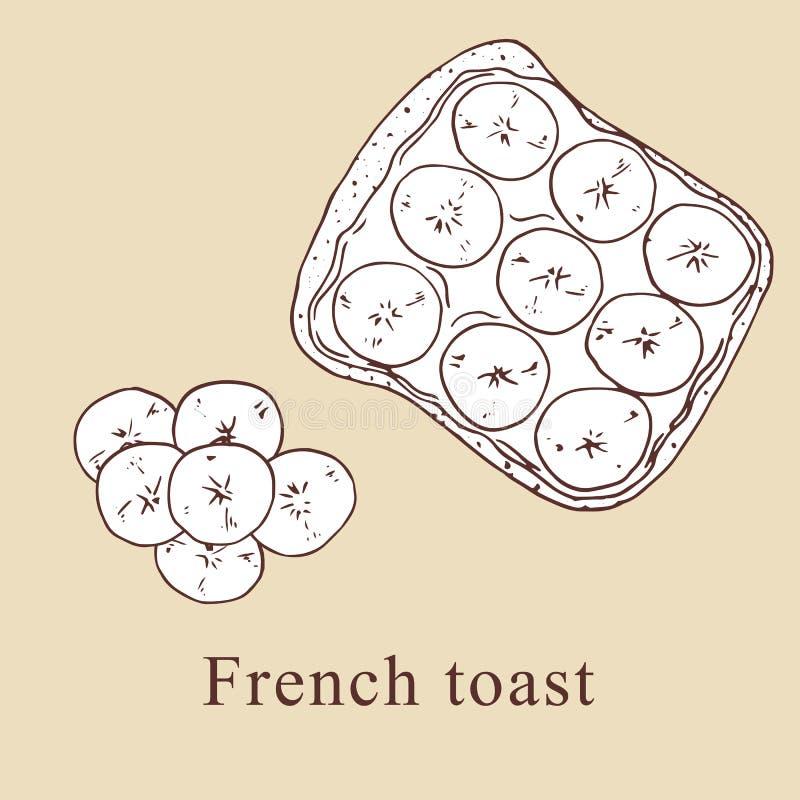 Illustrazione di vettore del pane inzuppato in latte/uova e zucchero e fritto in padella nello stile del fumetto royalty illustrazione gratis
