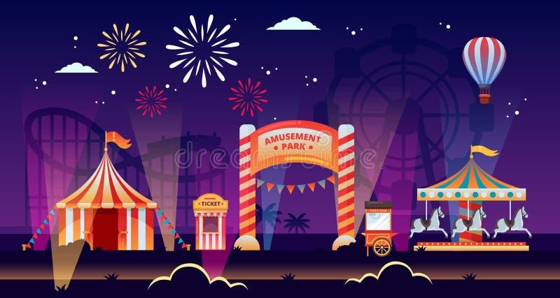 Illustrazione di vettore del parco di divertimenti di notte Caroselli, circo, correttamente in parco Temi di carnevale, di festiv royalty illustrazione gratis