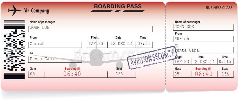 Illustrazione di vettore del passaggio di imbarco di linea aerea illustrazione di stock
