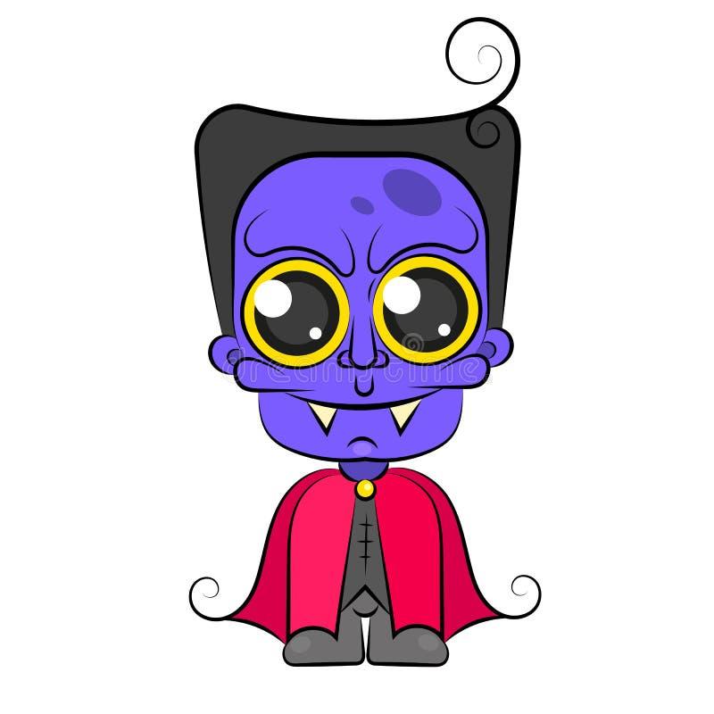 Illustrazione di vettore del personaggio dei cartoni animati del costume del vampiro di Halloween Dracula Ragazzo in draculas del royalty illustrazione gratis