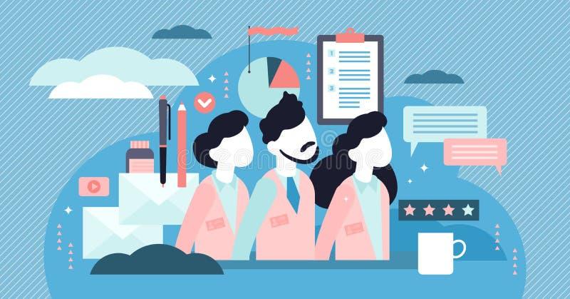 Illustrazione di vettore del personale della società Concetto minuscolo piano delle persone degli impiegati del lavoro royalty illustrazione gratis