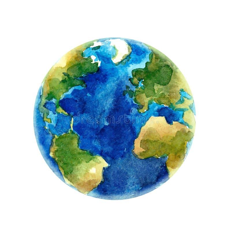 Illustrazione di vettore del pianeta della terra dell'acquerello illustrazione vettoriale