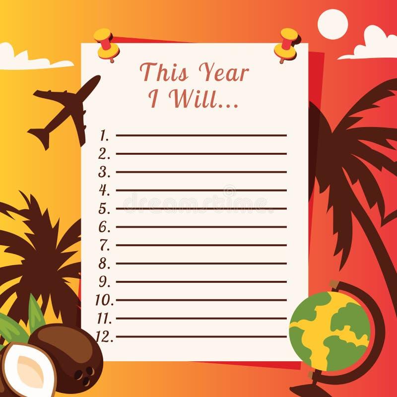 Illustrazione di vettore del pianificatore della lista di viaggio con con le palme, le noci di cocco, il glope e l'aereo Lasci il illustrazione vettoriale
