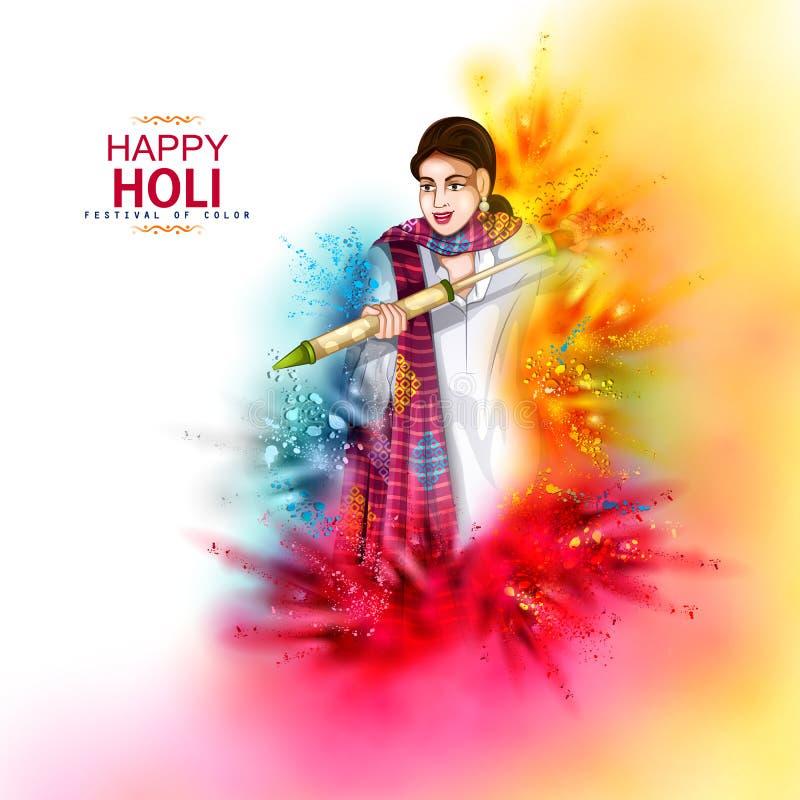 Illustrazione di vettore del popolo indiano che gioca il fondo felice variopinto di Hoil per il festival dei colori in India royalty illustrazione gratis