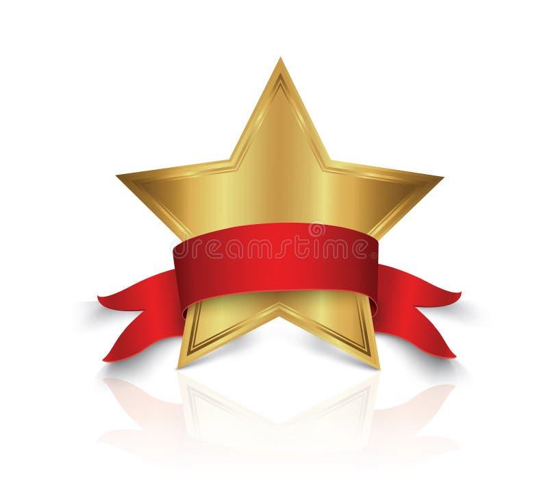 Illustrazione di vettore del premio della stella d'oro con il nastro brillante con spazio per il vostro testo royalty illustrazione gratis