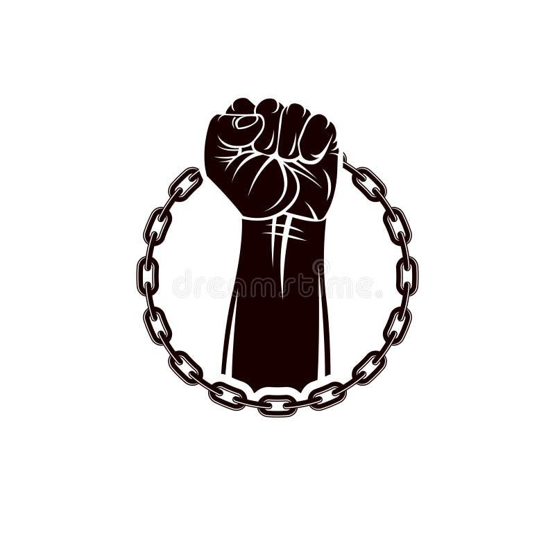 Illustrazione di vettore del pugno chiuso muscolare dell'uomo forte alzato su e circondato dalla catena del ferro Autorità global illustrazione vettoriale