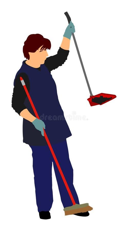 Illustrazione di vettore del pulitore della cameriera isolata sopra fondo bianco Cura del pavimento e servizi di pulizia con la z royalty illustrazione gratis