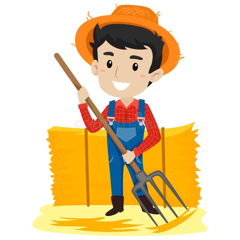 Illustrazione di vettore del rastrello della forca della tenuta di Man dell'agricoltore che ripara il fieno illustrazione vettoriale