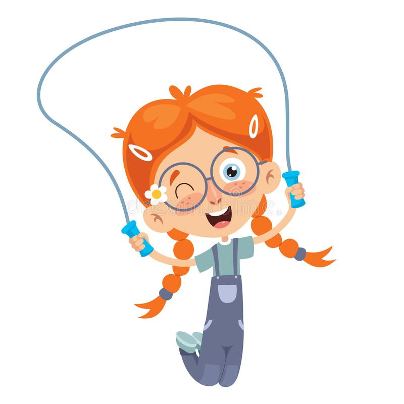 Illustrazione di vettore del salto della corda del bambino illustrazione di stock