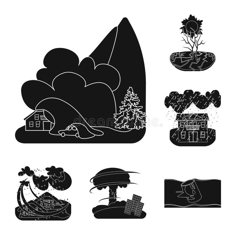 Illustrazione di vettore del segno di arresto e di calamità Raccolta dell'icona di vettore di disastro e di calamità per le azion illustrazione di stock