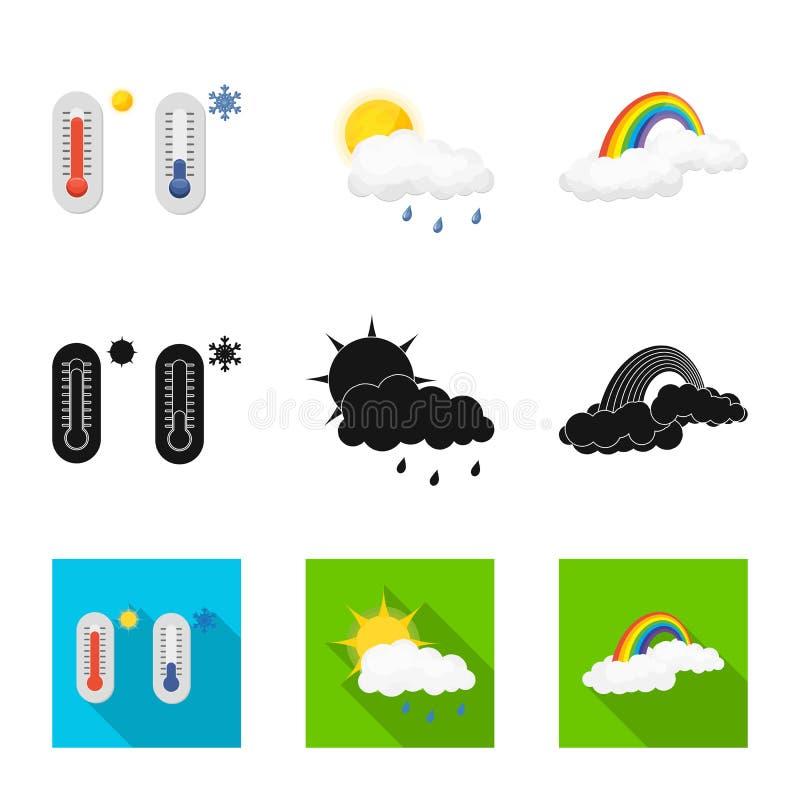 Illustrazione di vettore del segno di clima e del tempo Insieme dell'icona di vettore della nuvola e del tempo per le azione illustrazione vettoriale