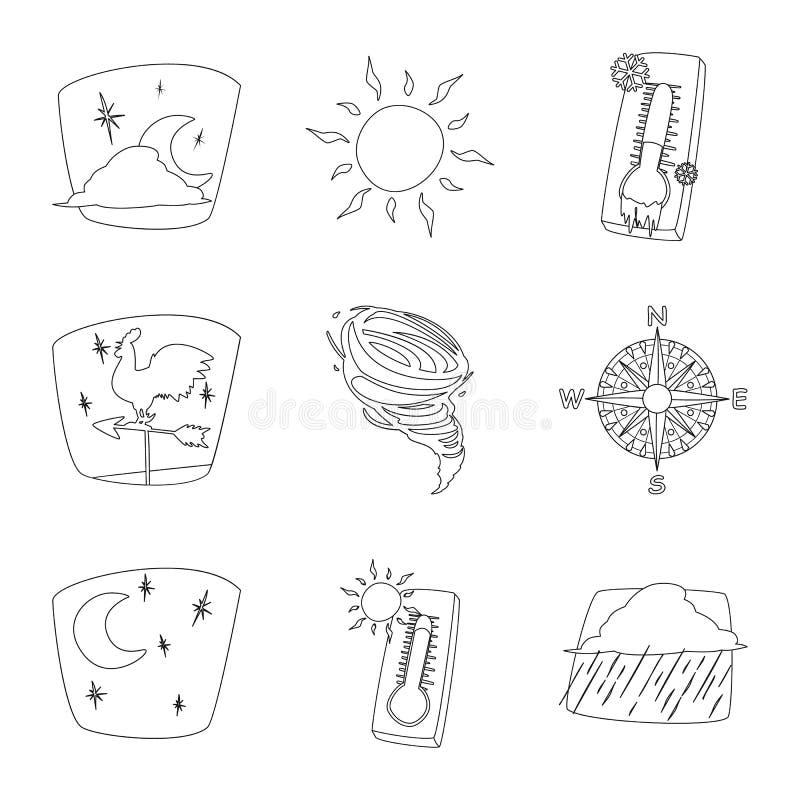 Illustrazione di vettore del segno di clima e del tempo Insieme del simbolo di riserva della nuvola e del tempo per il web royalty illustrazione gratis