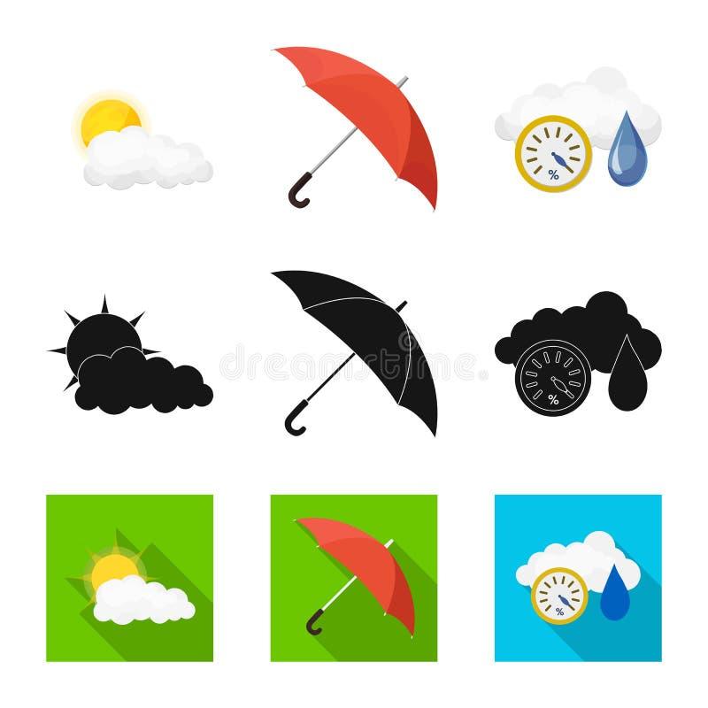 Illustrazione di vettore del segno di clima e del tempo Raccolta dell'illustrazione di riserva di vettore della nuvola e del temp illustrazione di stock