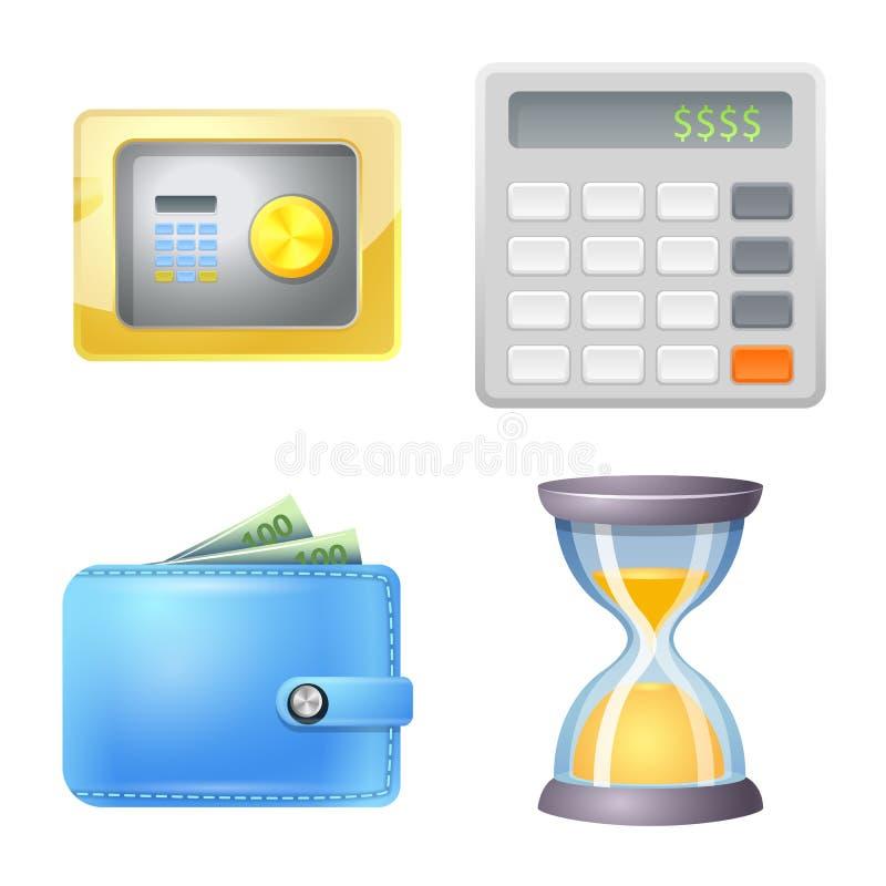 Illustrazione di vettore del segno dei soldi e della banca Raccolta dell'icona di vettore della fattura e della banca per le azio illustrazione di stock