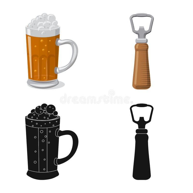 Illustrazione di vettore del segno della barra e del pub Insieme del pub e del simbolo di riserva interno per il web illustrazione di stock