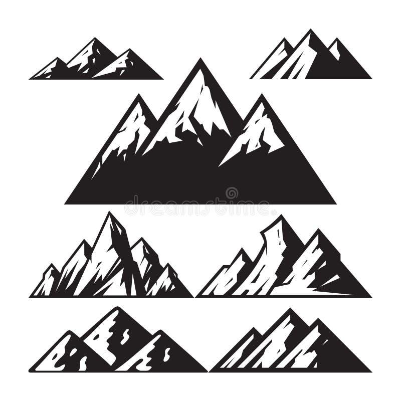Illustrazione di vettore del segno della montagna - insieme delle icone Simbolo astratto della siluetta Colore in bianco e nero E illustrazione di stock