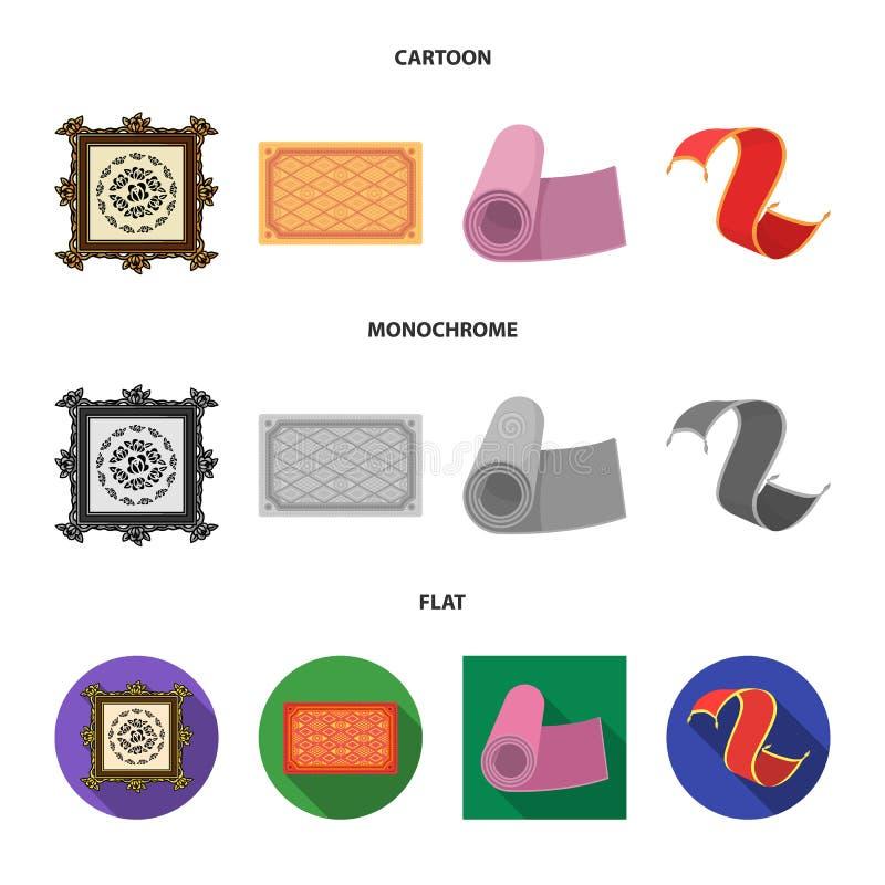 Illustrazione di vettore del segno del persiano e del tappeto Raccolta del simbolo di riserva del confine e del tappeto per il we royalty illustrazione gratis