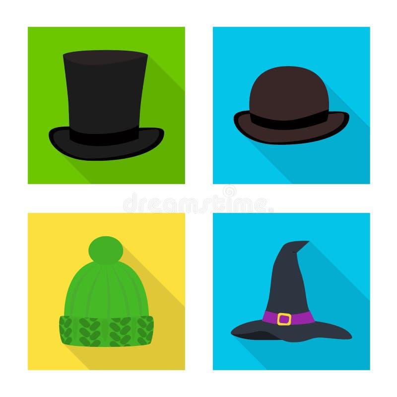 Illustrazione di vettore del segno di professione e di modo Raccolta di modo ed icona di vettore del cappuccio per le azione illustrazione di stock