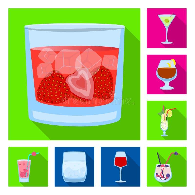 Illustrazione di vettore del segno del ristorante e del liquore Metta del simbolo di riserva dell'ingrediente e del liquore per i illustrazione vettoriale