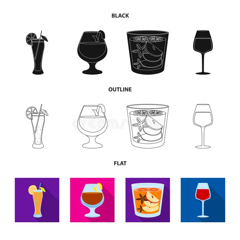 Illustrazione di vettore del segno del ristorante e del liquore Raccolta dell'illustrazione di vettore delle azione dell'ingredie illustrazione vettoriale