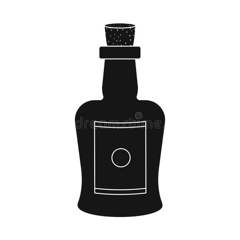 Illustrazione di vettore del segno del vino e della bottiglia Metta della bottiglia e del simbolo di riserva fortificato per il w illustrazione di stock