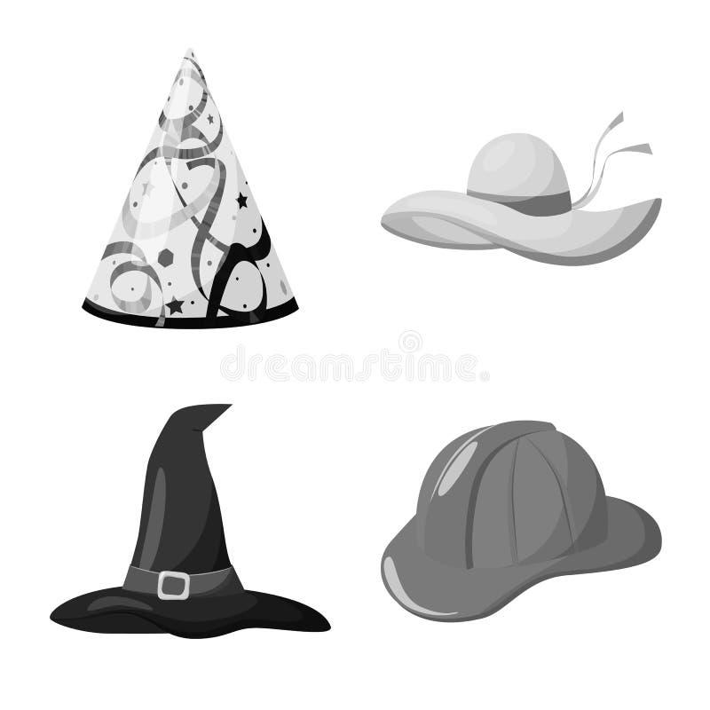 Illustrazione di vettore del simbolo del casco e del cappello Raccolta del cappello ed icona di vettore di professione per le azi illustrazione vettoriale