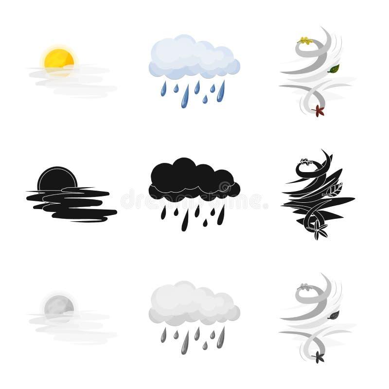 Illustrazione di vettore del simbolo di clima e del tempo Insieme dell'icona di vettore della nuvola e del tempo per le azione illustrazione di stock