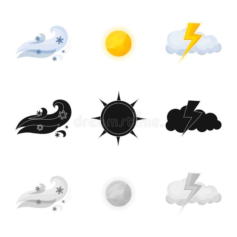 Illustrazione di vettore del simbolo di clima e del tempo Insieme dell'icona di vettore della nuvola e del tempo per le azione illustrazione vettoriale