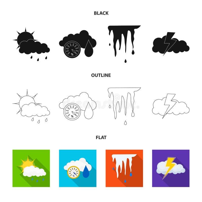 Illustrazione di vettore del simbolo di clima e del tempo Insieme del simbolo di riserva della nuvola e del tempo per il web illustrazione vettoriale