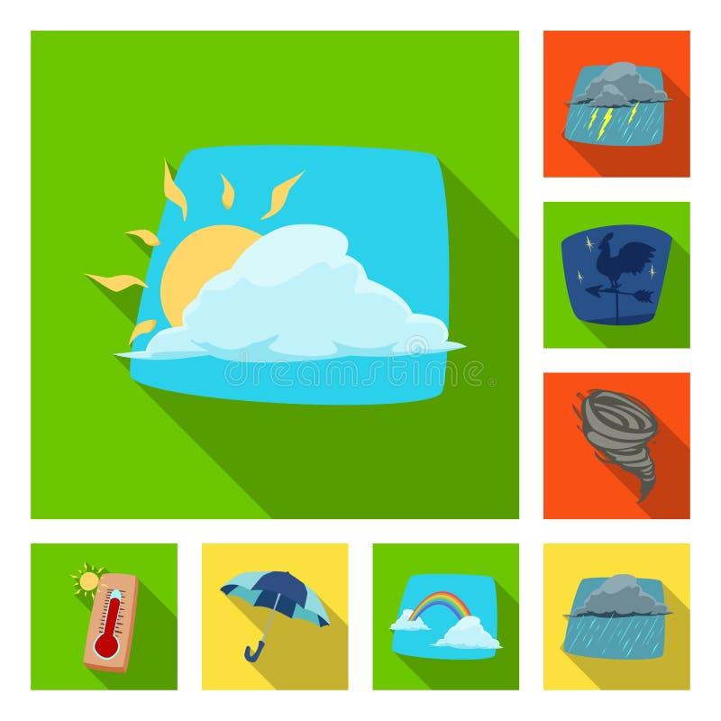 Illustrazione di vettore del simbolo di clima e del tempo Raccolta dell'icona di vettore della nuvola e del tempo per le azione royalty illustrazione gratis