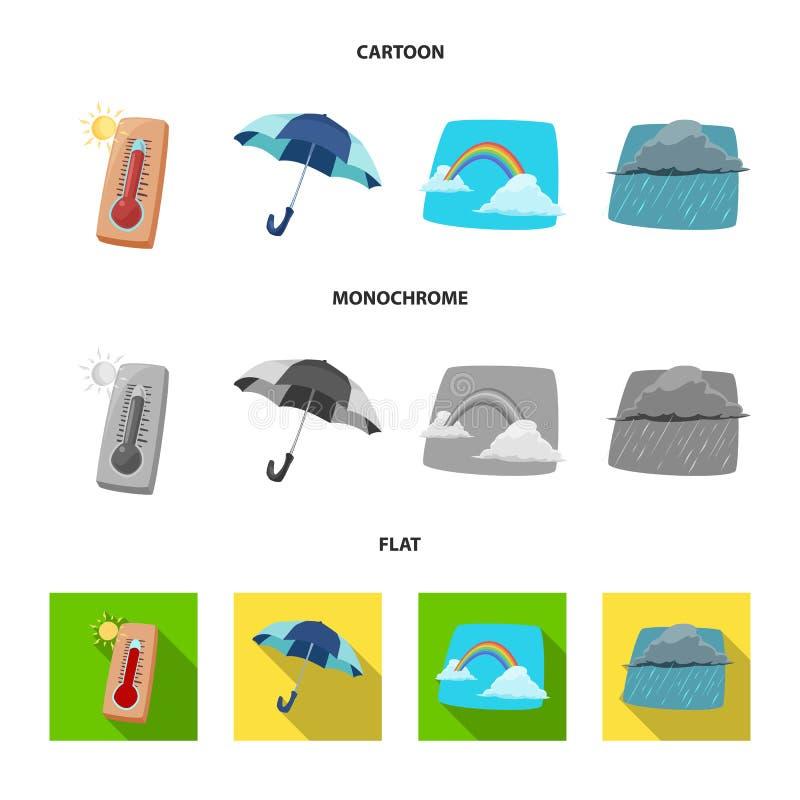 Illustrazione di vettore del simbolo di clima e del tempo Raccolta dell'illustrazione di riserva di vettore della nuvola e del te illustrazione vettoriale