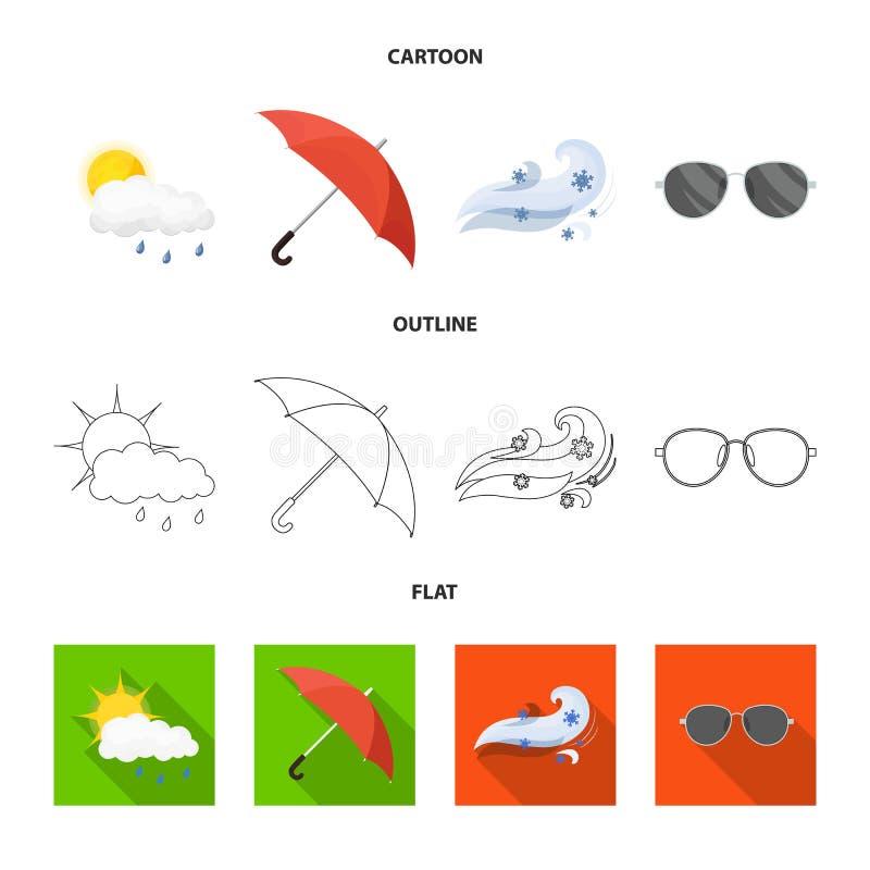 Illustrazione di vettore del simbolo di clima e del tempo Raccolta del simbolo di riserva della nuvola e del tempo per il web royalty illustrazione gratis
