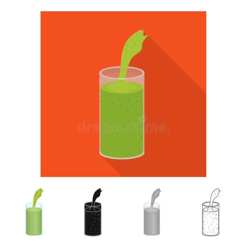 Illustrazione di vettore del simbolo dell'alga e del frullato Raccolta del frullato e del simbolo di riserva verde per il web illustrazione vettoriale