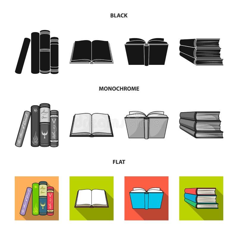 Illustrazione di vettore del simbolo del manuale e delle biblioteche Raccolta dell'illustrazione di riserva di vettore della scuo illustrazione di stock