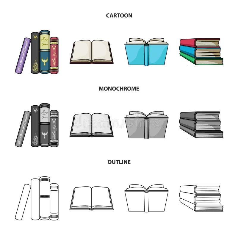 Illustrazione di vettore del simbolo del manuale e delle biblioteche Raccolta del simbolo di riserva della scuola e delle bibliot illustrazione di stock