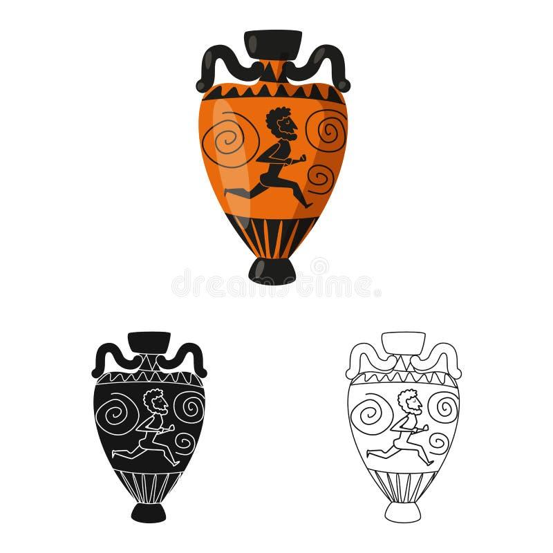 Illustrazione di vettore del simbolo del manufatto e dell'anfora Raccolta dell'anfora ed icona di vettore di civilizzazione per l illustrazione di stock