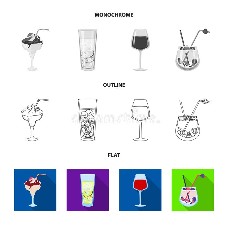 Illustrazione di vettore del simbolo del ristorante e del liquore Raccolta dell'illustrazione di vettore delle azione dell'ingred illustrazione di stock