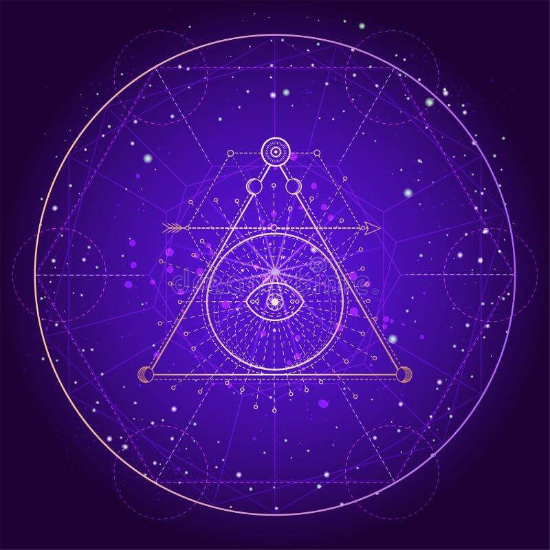 Illustrazione di vettore del simbolo sacro o mistico su fondo astratto illustrazione vettoriale