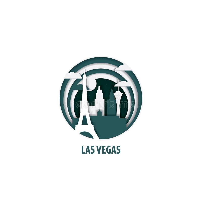 Illustrazione di vettore del taglio della carta di Las Vegas royalty illustrazione gratis
