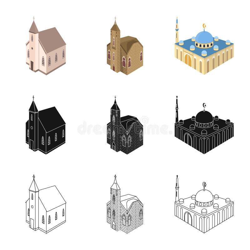 Illustrazione di vettore del tempio e del segno storico Metta del tempio e del simbolo di riserva di fede per il web royalty illustrazione gratis