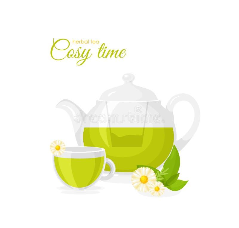Illustrazione di vettore del vaso e della tazza di tisana isolati su fondo bianco Concetto del tè, tisana con la camomilla royalty illustrazione gratis