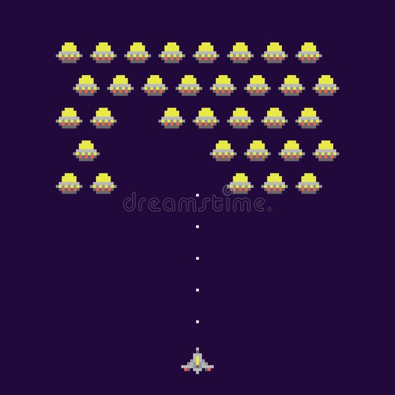 Illustrazione di vettore del videogioco arcade di ufos della vecchia scuola illustrazione di stock