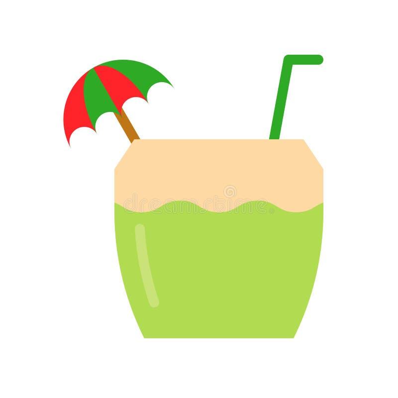 Illustrazione di vettore dell'acqua di cocco, icona piana di stile della bevanda illustrazione vettoriale