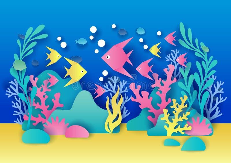 Illustrazione di vettore dell'acquario nello stile di carta di arte royalty illustrazione gratis