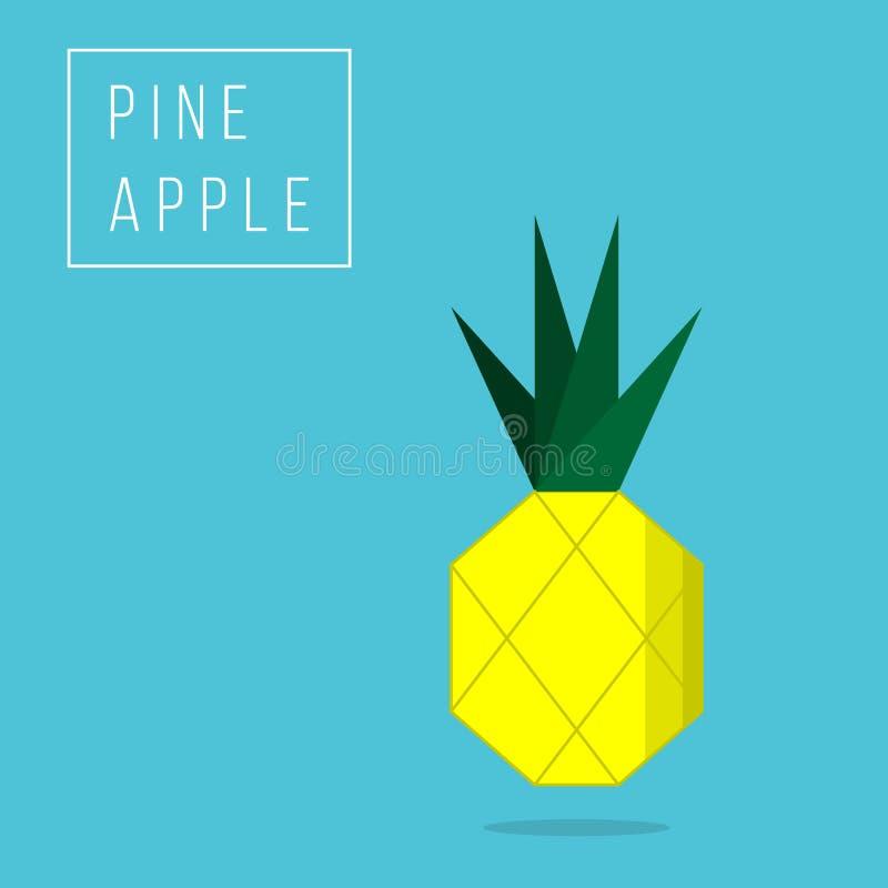 Illustrazione di vettore dell'ananas isolata su fondo blu illustrazione di stock