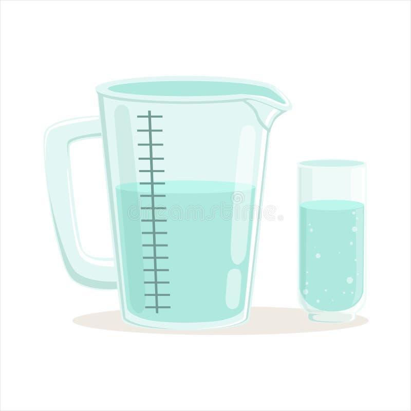 Illustrazione di vettore dell'articolo da cucina della tazza e di vetro di misurazione royalty illustrazione gratis