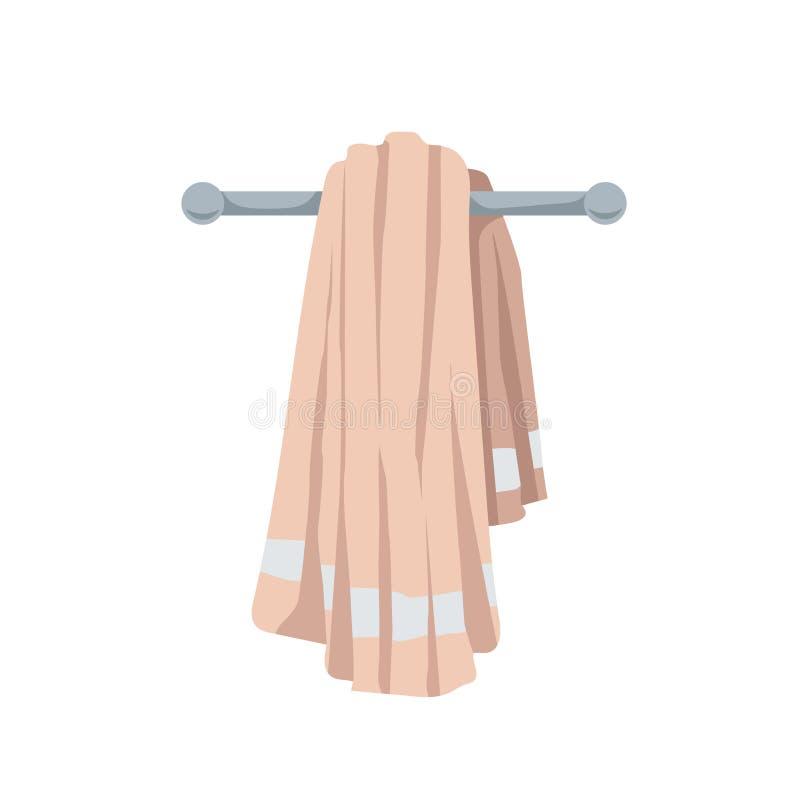 Illustrazione di vettore dell'asciugamano piegato del cotone Stile piano d'avanguardia del fumetto Bagno, spiaggia, stagno ed ico illustrazione vettoriale