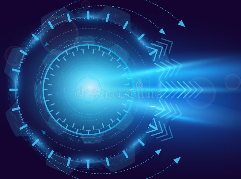 Illustrazione di vettore dell'astrazione digitale Tecnologia futura, occhio azzurro, laser, concetto di moto Fondo, estratto ciao illustrazione vettoriale