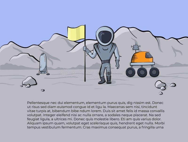Illustrazione di vettore dell'astronave e dell'astronauta illustrazione di stock