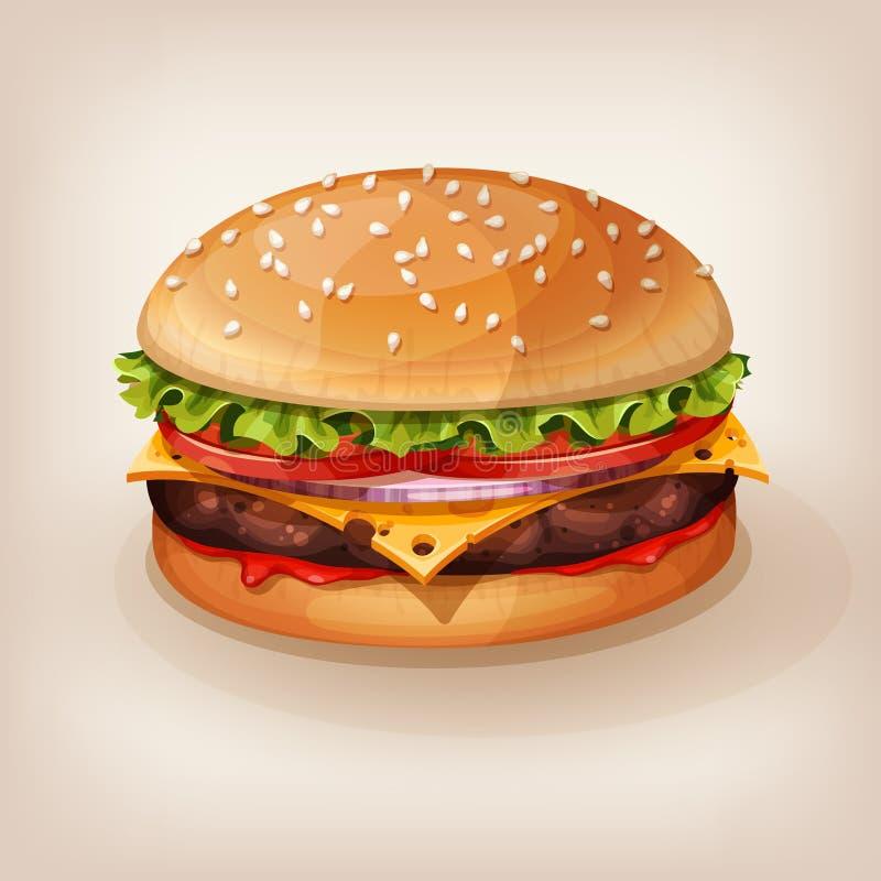 Illustrazione di vettore dell'hamburger delizioso Icona di stile del fumetto royalty illustrazione gratis
